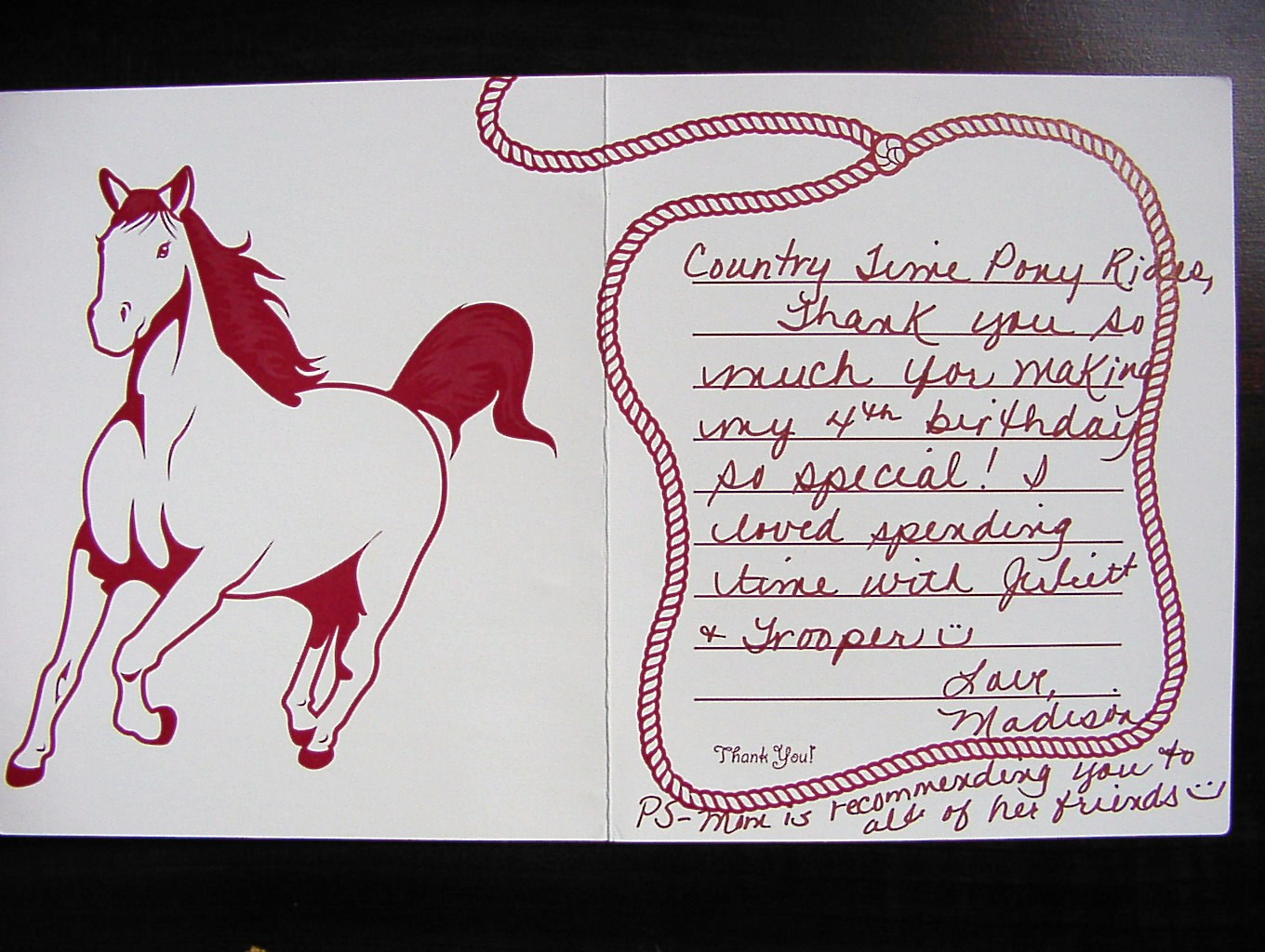 CountryTime Pony Rides - Customer Letter 4
